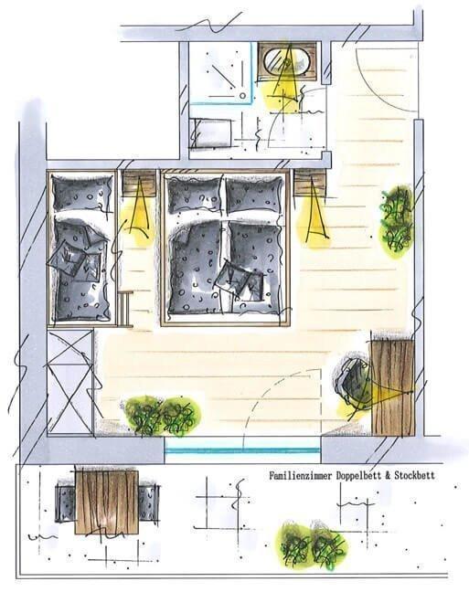 Familienzimmer mit Panoramablick für 3-4 Personen
