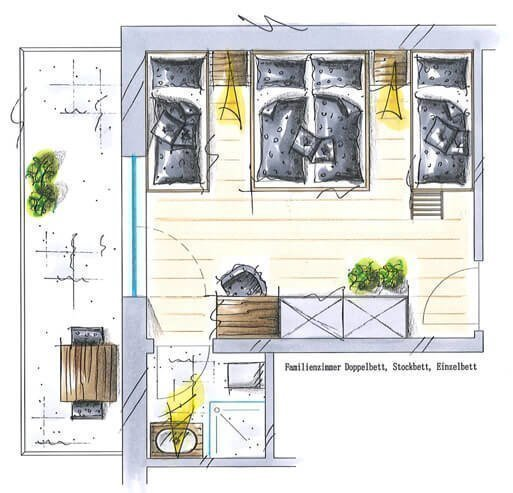Familienzimmer mit Kirch- und Panoramablick für 4 bis 5 Personen