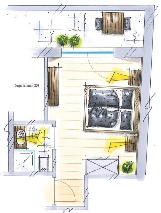 kleineres Doppelzimmer mit Kirchblick für 2 Personen