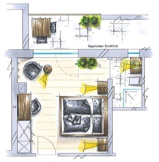 größeres Doppelzimmer mit Kirchblick für 2-3 Personen