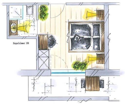kleineres Doppelzimmer mit Panoramablick für 2 Personen