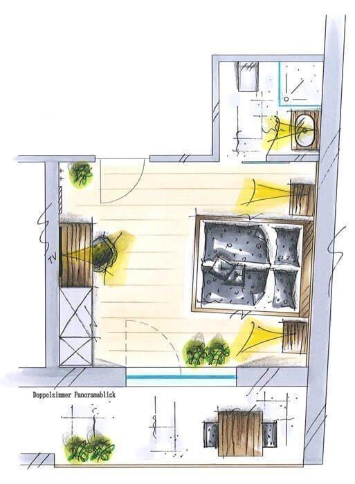 größeres Doppelzimmer mit Panoramablick für 2-3 Personen